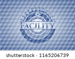facility blue emblem or badge... | Shutterstock .eps vector #1165206739