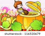 sweet pumpkin soup   cooking... | Shutterstock .eps vector #116520679