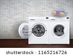 laundry room interior with two... | Shutterstock .eps vector #1165216726