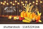 autumn harvest card vector... | Shutterstock .eps vector #1165224166