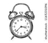 alarm clock engraving raster... | Shutterstock . vector #1165231096