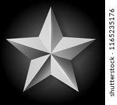 realistic silver star on black... | Shutterstock . vector #1165235176