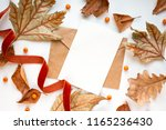 fall mockup card with autumn... | Shutterstock . vector #1165236430
