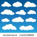 vector set with white clouds on ... | Shutterstock .eps vector #1165238800