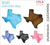 texas watercolor us state map.... | Shutterstock .eps vector #1165240456