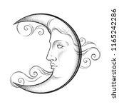 crescent moon with face in... | Shutterstock .eps vector #1165242286