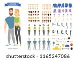 cute fitness couple character...   Shutterstock .eps vector #1165247086
