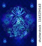 hindu lord vishnu sitting on... | Shutterstock .eps vector #1165254163