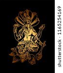 hindu lord vishnu sitting on... | Shutterstock .eps vector #1165254169