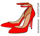 red high heel shoes with a strap | Shutterstock .eps vector #1165257169