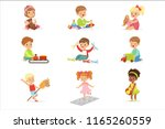 cute children playing with... | Shutterstock .eps vector #1165260559