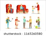 old people living full live and ... | Shutterstock .eps vector #1165260580