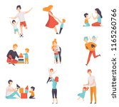 parents and their kids having... | Shutterstock .eps vector #1165260766