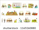 coworking workplace ... | Shutterstock .eps vector #1165260880