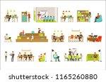 coworking workplace ... | Shutterstock .eps vector #1165260880