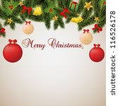 christmas card width red and... | Shutterstock .eps vector #116526178