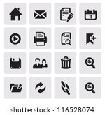 vector black web icons set on...