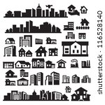vector black houses icons set... | Shutterstock .eps vector #116528140