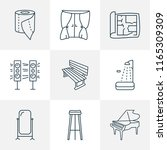 decor icons line style set with ... | Shutterstock . vector #1165309309