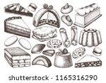 italian desserts illustrations... | Shutterstock .eps vector #1165316290