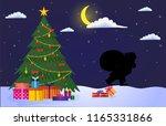 night christmas landscape.... | Shutterstock .eps vector #1165331866