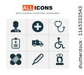 medicine icons set with... | Shutterstock . vector #1165333543