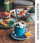 healthy blue smoothie drink...   Shutterstock . vector #1165333726