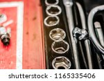 cose up of old toolbox. toolset ... | Shutterstock . vector #1165335406