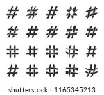 hashtag icons set. web sign kit ... | Shutterstock .eps vector #1165345213