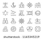 marine thin line icon set....