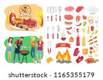 bbq party time isolated icons... | Shutterstock .eps vector #1165355179