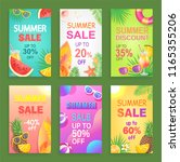 summer sale posters with offers ... | Shutterstock .eps vector #1165355206
