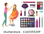 visage and makeup making beauty ... | Shutterstock .eps vector #1165355209