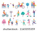 skating person on scooter... | Shutterstock .eps vector #1165355359