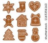 christmas gingerbread vector... | Shutterstock .eps vector #1165356163