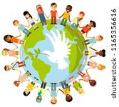 unity of kids and dove of peace ... | Shutterstock .eps vector #1165356616