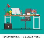 office desk with computer chair ... | Shutterstock .eps vector #1165357453