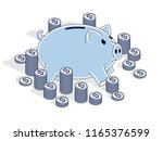 piggy bank with cent coins... | Shutterstock .eps vector #1165376599
