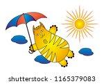a flying cartoon cat with an... | Shutterstock .eps vector #1165379083