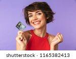 smiling pretty brunette woman... | Shutterstock . vector #1165382413