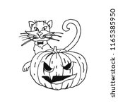 funny pumpkin and cat for... | Shutterstock .eps vector #1165385950