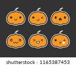cute simple kawaii pumpkin... | Shutterstock .eps vector #1165387453