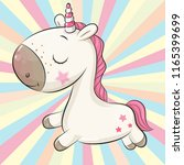 cartoon unicorn on a colored... | Shutterstock .eps vector #1165399699