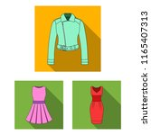 women's clothing flat icons in... | Shutterstock . vector #1165407313