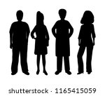 silhouettes of women and men on ... | Shutterstock . vector #1165415059