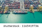 container ship in export and... | Shutterstock . vector #1165419736