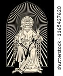 jesus christ statue engraving... | Shutterstock .eps vector #1165427620