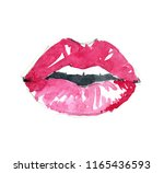 red sexy lips watercolor drawn... | Shutterstock . vector #1165436593