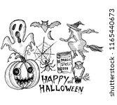happy halloween  doodle | Shutterstock .eps vector #1165440673
