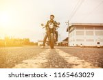 young man drive with motorbike... | Shutterstock . vector #1165463029